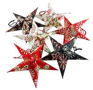 Star decorations 8 mini patterned paper hanging stars/lanterns-22.5cm