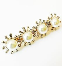 USA Hair Clip Claw Rhinestone Crystal Hairpin Jewel Pearl Fashion Gold 04