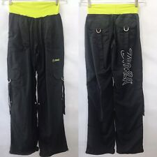 Womens Zumba Dance Pants Black Lime Convert to Capri Cargo Athletic Wear Size M