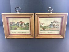 19th Century Hand-Colored Small Prints of Residences Pastoral Macon County, IL