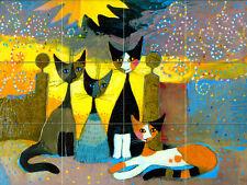 Art Colorful Mural Ceramic Cat Bath Backsplash Tile #64
