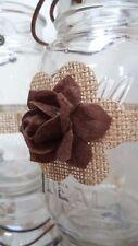 10 Rustic Brown 3d Rose Mason Jar Candle Centerpiece Wedding Party Wraps N36