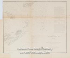 1853 Antique Nautical Chart Galveston Entrance Texas, US Coast Survey