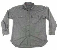 Tommy Hilfiger Wool Blend Shirt Mens XL Button Down Herringbone Gray Long Sleeve