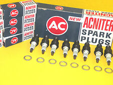 AC Acniter Spark Plugs R44NS with 4 EQUAL GREEN STRIPE RINGS Set of 8