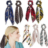 Fashion Ribbon Elastic Rope Solid Scrunchie Hair Band Bow Headband Scarf Ties