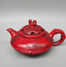 Chinese ancient red resin chicken basket teapot crafts statue z966