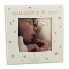 """Bambino Cream Unisex Baby Photo Frame with Stars & Pram - """"Mummy & Me"""""""
