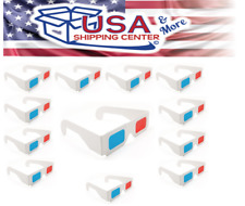 Blue Handcart 12 Pairs of Red/Cyan Cardboard 3D Glasses - White Frame - USA ship