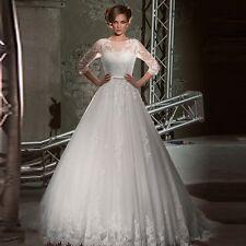 Elegant 2017White/Ivory 3/4 Sleeve Wedding Dresses Tulle Lace Bridal Gown Custom