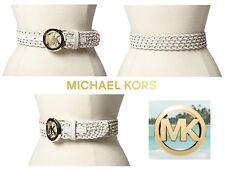 MICHAEL KORS Women's Large Leather Belt Tortoise Logo Plaque Wide Woven in White