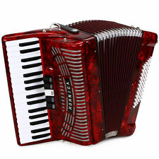 Hohner Hohnica 72 Bass Entry Piano Accordion Pearl Red with Gig Bag & Straps