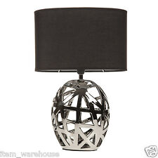 ART DECO MODERN GEOMETRIC CUT OUT CHROME TABLE LAMP BEDROOM LIGHT FREE DELIVERY