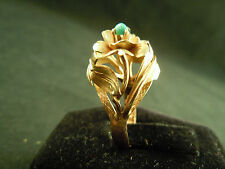 18k Yellow Gold Turquoise Cabochon VINTAGE MID-CENTURY Flower Ring Sz 4.5 3.7grn