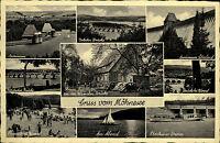Möhnesee Mehrbild Grußkarte 1951 gelaufen Deleker Brücke Sperrmauer Strandbad