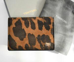 🆕️ New TOM FORD ANIMAL LEOPARD Print Genuine Suede CREDIT CARD Holder Wallet