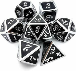 Metal Dice DND Dice Set Role Playing D&D 7 Solid Dice for Dungeons and Dragons