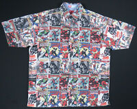 Spiderman Ecko Marvel Comic Book Print Short Sleeve Button Down Shirt L Rare