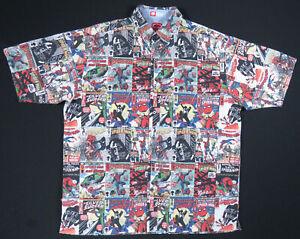 Spiderman Ecko Marvel Comic Book Print Short Sleeve Button Down Shirt L Rare