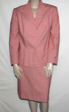 NEW Evan Picone Plus 20W Stand-Collar Jacket & Pencil Skirt Suit CORAL/WHITE