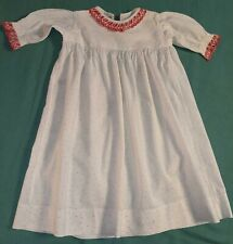 Antique Child's Calico Nightgown with Red Embroidered Trimmed Robe, Handmade