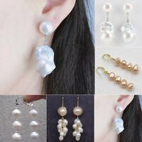 Fashion Women Flower Baroque Long Dangle Ear Stud Earrings Jewelry Party Jewelry