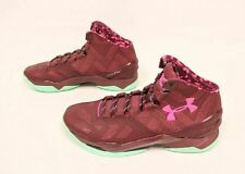 Under Armour UA Curry 2 Hi Top Basketball Shoes Maroon/Turquoise 1259007-602