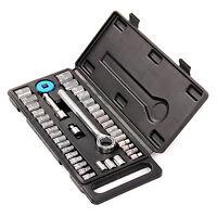 "40 Pcs Mechanics Socket Wrench Set 1/4"" 3/8"" Extension Bar Metric SAE Tool Kit"