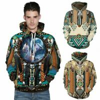 Native American Indian Chief Tribal Totem Ethnic Men Women Pullover Hoodie 3D US