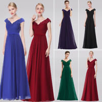 Woman Fashion V-neck Cap Sleeves Evening Party Gowns Long Bridesmaid Dresses