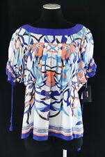 NWT CHIC Nicole Miller Multi Paisley Sheer Pleated Flowing Blouse Top Shirt M/L