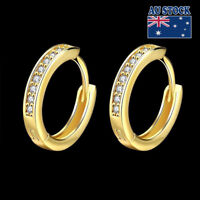 Gorgeous 17MM 18K Gold Plated Classic Crystal Hoop Clip Earrings Stunning
