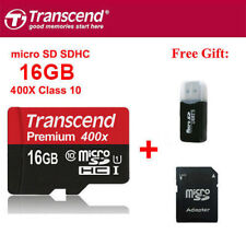 Transcend 400X 60MB/S 16GB MicroSDHC TF Flash Memory Card C10 UHS-I With Adapter