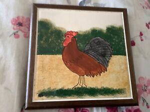 Framed Ceramic Tile, 6 inch square Trivet / Wall Plaque, Chicken design