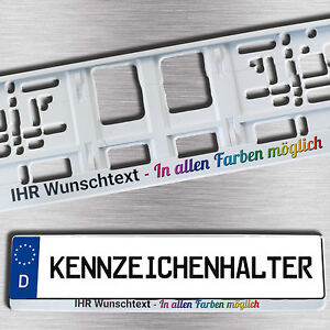 1 weißer KENNZEICHENHALTER mit Wunschtext/Logo/Werbung vierfarbig BEDRUCKT