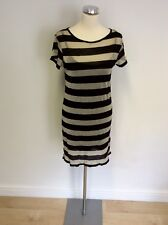 FRENCH CONNECTION BLACK & METALLIC SPARKLE STRIPE DRESS SIZE 8