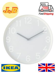 GREAT VALUE HIGH QUALITY IKEA TROMMA Wall Clock White Grey Quiet 25cm UK