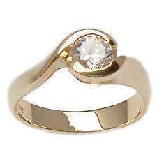 Anillo solitario compromiso de oro amarillo 18 kt. con diamante talla brillante
