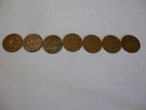 7 x Half Pennys. 1960/62/63/64/65/66/67