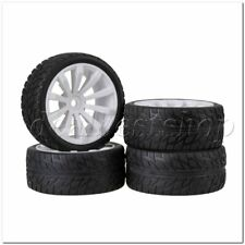 4 x White 10 Spoke Wheel Rims Flame Pattern Tyres Tires for RC1:10 On Road Car