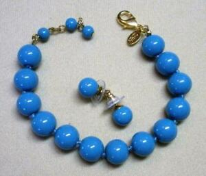 JOAN RIVERS GOLD EP HAND KNOTTED TURQUOISE GLASS BEAD BRACELET & EARRING SET NEW