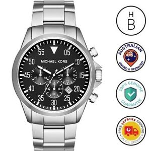 New Michael Kors Mens Watch Gage Silver Tone Steel Black Dial Chronograph MK8413