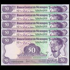 Lot 5 PCS, Nicaragua 50 Cordobas, 1984, P-140, banknote UNC