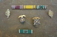 Military Insignia Pin Lot of 6 Vintage Ribbons Oak Leaves