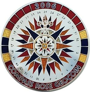 Compass Rose Geocoin 2006, Polished Nickel, Activated