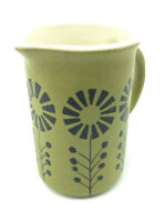 Vintage Secla Portugal 60's Creamer Pitcher Hand Painted Pottery Green Flowers