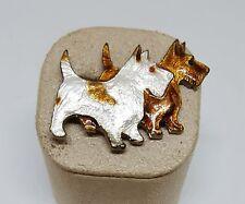"Vintage Estate Enamel Guilloche Scottie Dog Scottish Terrier Pin Brooch ~ 1 1/2"""