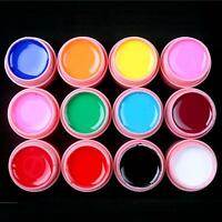 12 Pots Solid Mix Color Nail Art UV Builder Gel Set Kit 5ml