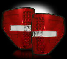 2009-2013 Ford F-150 & SVT Raptor Rear LED Tail Lights with Red Lens Finish
