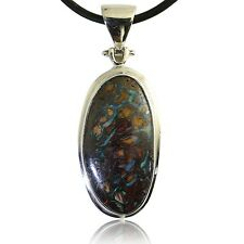 Green & Blue Boulder Matrix Opal Pendant in 100% Sterling Silver Setting
